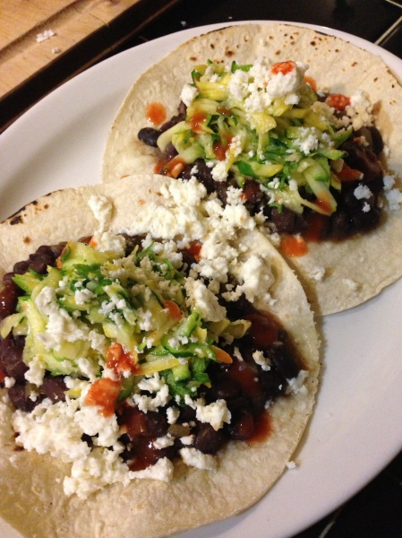 BLACK BEAN TACOS WITH ZUCCHINI SLAW
