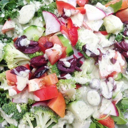 Chopped salad, buttermilk dressing… healthy times.