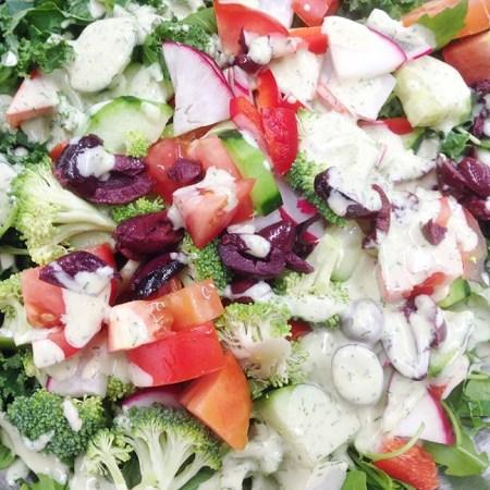 Chopped salad, buttermilk dressing… healthy times.